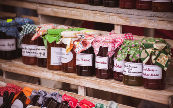 Farmers market product display