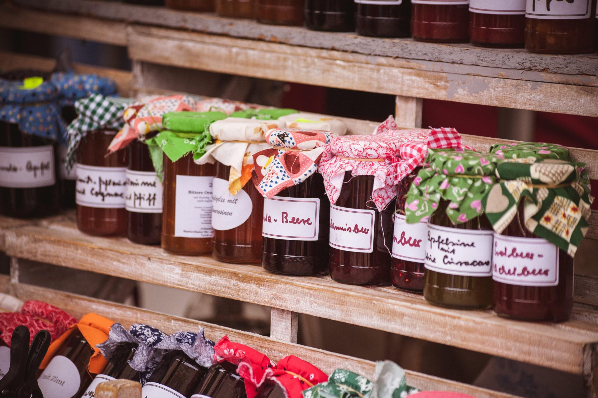 Farmers market product display