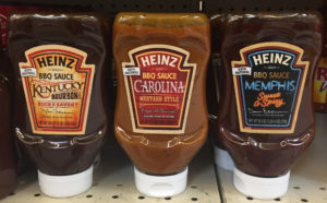 The product packaging for Heinz brand bbq sauces